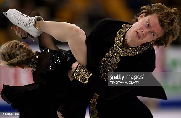 Isabella Tobias and Ilia Tkachenko of Israel during the Ice Dance practice session March 29 2016 during the 2016 ISU World Figure Skating...