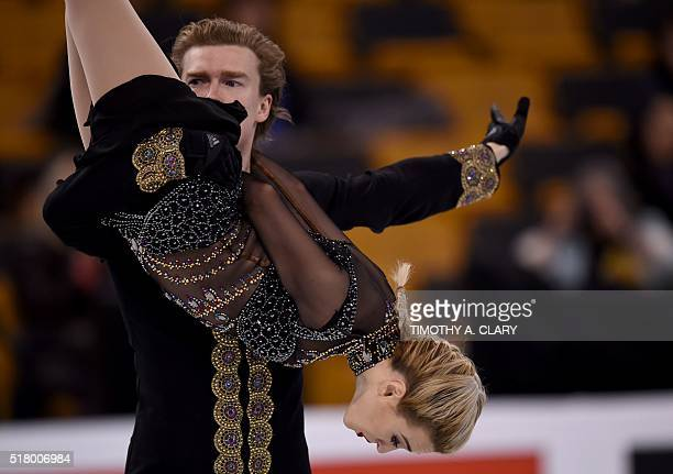 Isabella Tobias Ilia Tkachenko of Israel during the Ice Dance practice session March 29 2016 during the 2016 ISU World Figure Skating Championships...