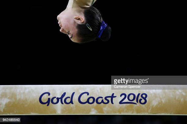 Isabella Tolometti of Scotland competes in the beam during the Gymnastics Artistic Women's Team Final and Individual Qualification on day two of the...