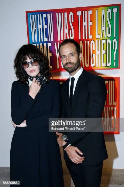 Isabelle Adjani and Benjamin Millepied attend the Art Exhibition Reflexion Redux of Benjamin Millepied and Barbara Kruger at Studio des Acacias on...