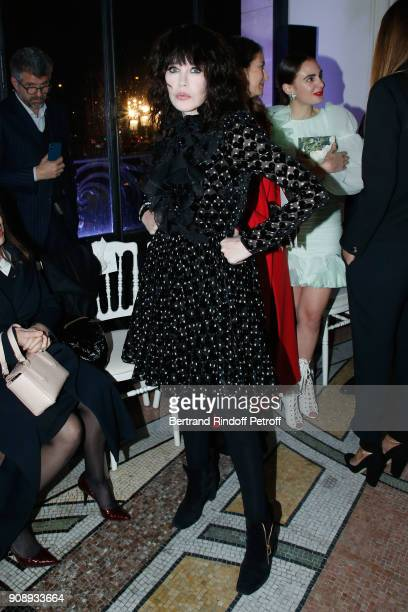 Isabelle Adjani attends the Giambattista Valli Haute Couture Spring Summer 2018 show as part of Paris Fashion Week on January 22 2018 in Paris France