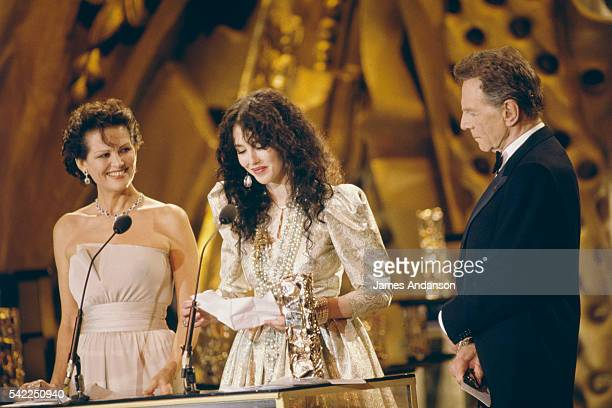 Isabelle Adjani wins the Cesar Award for Best Actress for Camille Claudel directed by Bruno Nuytten during the 14th Cesar Awards ceremony