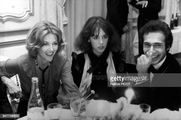 Isabelle Adjani With Actress Nicole Courcel And Olivier Dassault At Party For Movie La Gifle Directed By Claude Pinoteau October 11 1974