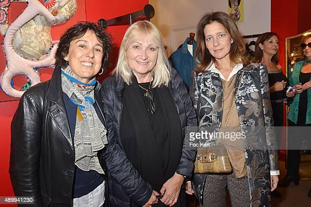 Isabelle Alonso Julie Leclerc and Feryel Lakhdar attend the Nathalie Garcon's 'Carnet de Voyages en Tunisie' at Nathalie Garcon Shop on September 24...