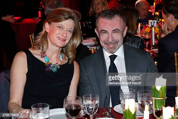 Isabelle Barnier and Alain Seban attend the Martine Aublet Foundation Award Night at the Musee Du Quai Branly on March 3 2014 in Paris France