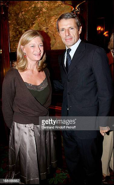 Isabelle Barnier and Lambert Wilson lunch at Maxim's Ladies Club given in honor of Lambert Wilson