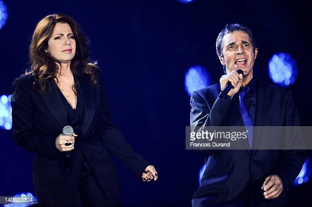 Isabelle Boulay and Julien Clerc perform during 'Les Victoires de La Musique 2012' at Palais des Congres on March 3 2012 in Paris France