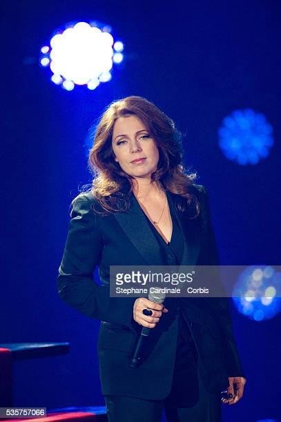 Isabelle Boulay performs on stage during Les Victoires de La Musique 2012 at Palais des Congres in Paris