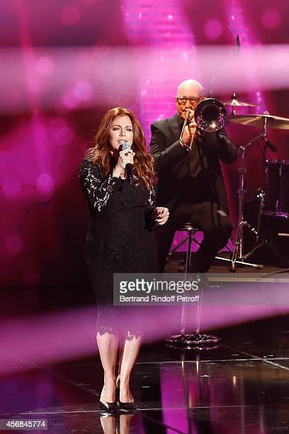 Isabelle Boulay performs Serge Reggiani's Song Ma Liberte during 'C'est votre vie' guest Laurent Gerra Show in Studio de la PlaineSaintDenis on...