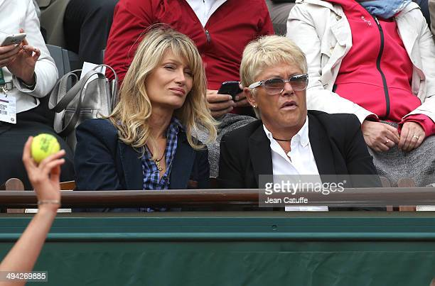 Isabelle Camus, wife of Yannick Noah and Frederique Bahrami attend Day 3 of the French Open 2014 held at Roland-Garros stadium on May 27, 2014 in...