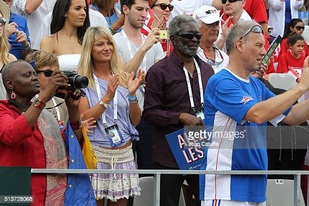 Isabelle Camus wife of Yannick Noah and his father Zacharie Noah attend day 1 of the Davis Cup World Group first round tie between France and Canada...