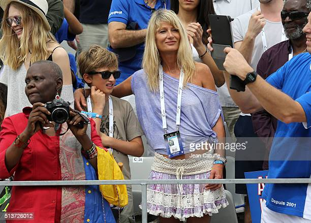 Isabelle Camus wife of Yannick Noah and their son Joalukas Noah attend day 1 of the Davis Cup World Group first round tie between France and Canada...