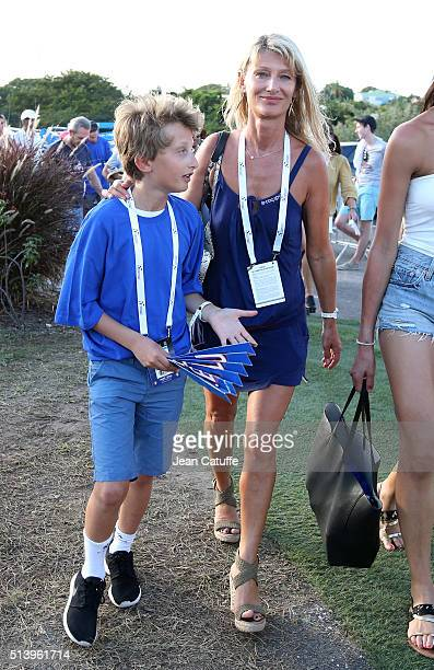 Isabelle Camus wife of Yannick Noah and their son Joalukas Noah attend day 2 of the Davis Cup World Group first round tie between France and Canada...