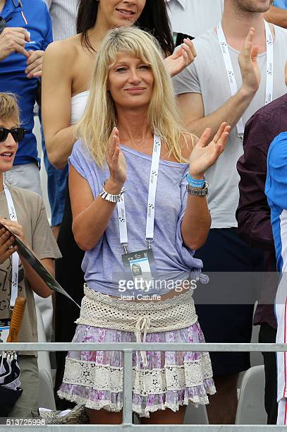Isabelle Camus wife of Yannick Noah attends day 1 of the Davis Cup World Group first round tie between France and Canada at Stade Velodrome Amedee...