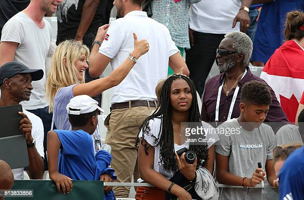 Isabelle Camus wife of Yannick Noah reacts with Zacharie Noah father of Yannick Noah during day 1 of the Davis Cup World Group first round tie...