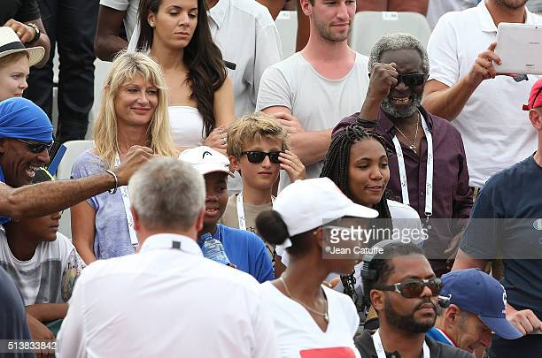 Isabelle Camus wife of Yannick Noah their son Joalukas Noah Zacharie Noah father of Yannick's father react during day 1 of the Davis Cup World Group...