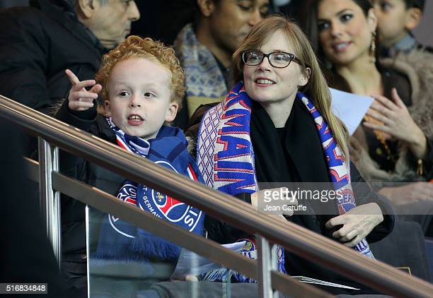 Isabelle Carre attends the French Ligue 1 match between Paris SaintGermain and AS Monaco at Parc des Princes stadium on March 20 2016 in Paris France