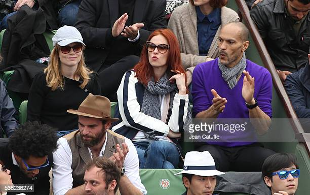 Isabelle Carre Audrey Fleurot and her boyfriend Djibril Glissant attend the women's final on day 14 of the 2016 French Open held at RolandGarros...