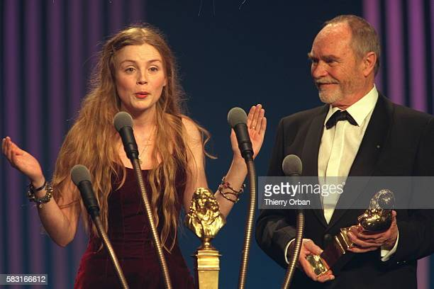 Isabelle Carre won the Moliere for best actress receives her prize from Pierre Vaneck