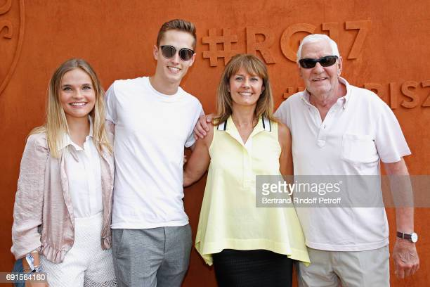 Isabelle Chalencon, her father, her son and her son's companion attend the 2017 French Tennis Open - Day Six at Roland Garros at Roland Garros on...