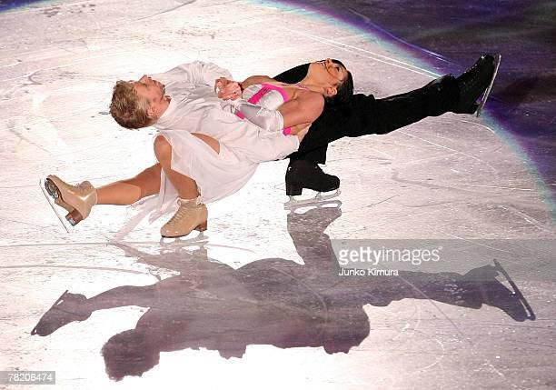 Isabelle Delobel and Olivier Schoenfelder of France perform in the Exhibition Gala of the ISU Grand Prix of Figure Skating NHK Trophy at Sendai City...