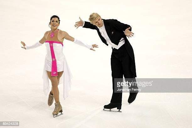 Isabelle Delobel and Olivier Schonfelder of France perform the compulsory dance routine during the day 1 of 2008 Skate America at the Comcast Arena...