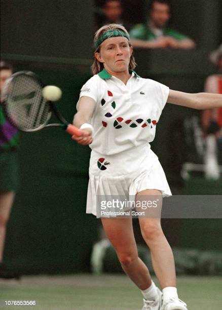 Isabelle Demongeot of France returns the ball against Gabriela Sabatini of Argentina during the Women's Singles second round on day four of the 1992...