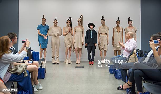 Isabelle Donola poses with models at the Isabelle Donola NYC fashion show during MercedesBenz Fashion Week Spring 2015 on September 8 2014 in New...