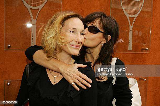 Isabelle Doval and Evelyne Bouix attend the Lacoste Lunch during the 2004 Roland Garros French Open Tennis tournament