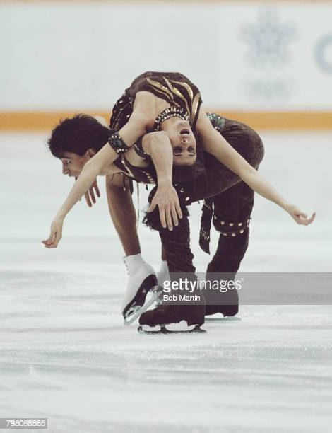 Isabelle Duchesnay and Paul Duchesnay of France perform in the Mixed Ice Dance Skating competition on 27 February 1988 during the XV Olympic Winter...