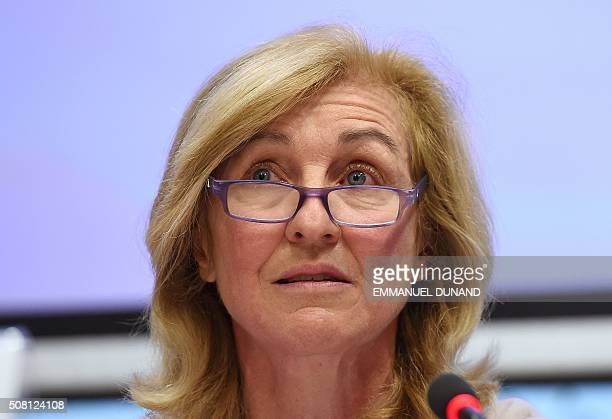 Isabelle FalquePierrotin the WP29's Chairwoman a group including the data protection agencies of the 28 member states speaks during a press...