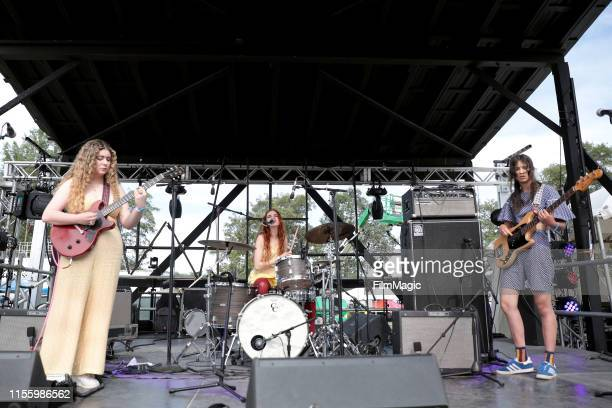 Isabelle Fields Anastasia Sanchez and Eva Chambers of Pinky Pinky perform on Who Stage during the 2019 Bonnaroo Arts And Music Festival on June 14...