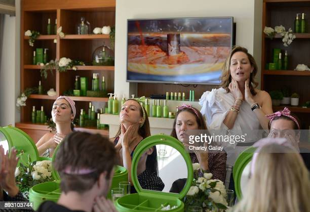 Isabelle Fuhrman Ahna O'Reilly Caley Lawson and Tata Harper Skincare CEO Tata Harper attend the Tata Harper VIP Masterclass at Sunset Tower on...