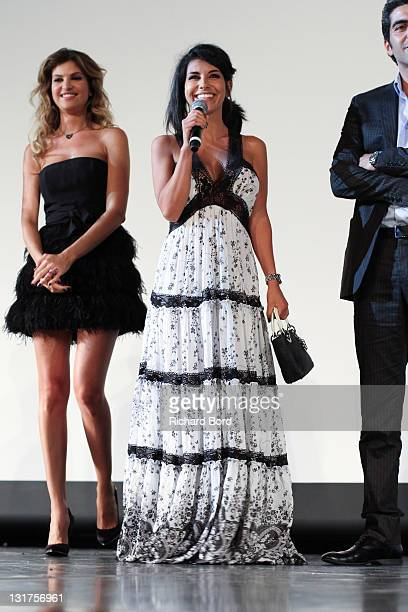 Isabelle Funaro and Reem Kherici attend the Fatal Paris Premiere at Le Grand Rex on June 14 2010 in Paris France