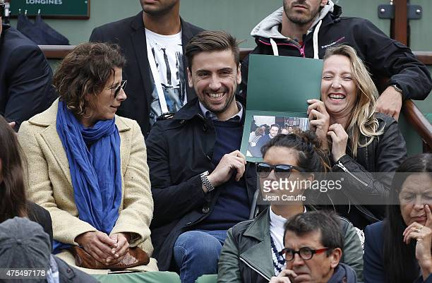 Isabelle Gelinas Audrey Lamy and her boyfriend Thomas Sabatier attend day 8 of the French Open 2015 at Roland Garros stadium on May 31 2015 in Paris...