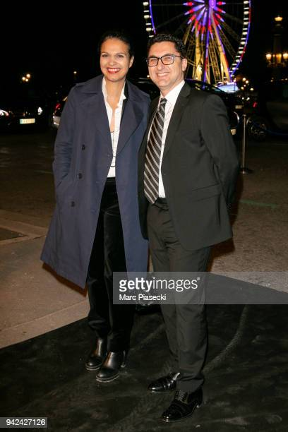 Isabelle Giordano and Maxime Saada arrive to attend the 'Madame Figaro' dinner at Automobile Club de France on April 5 2018 in Paris France