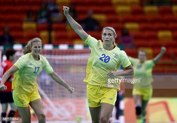 Isabelle Gullden and Linnea Torstensson of Sweden celebrate in the first half against Korea on Day 3 of the Rio 2016 Olympic Games at the Future...