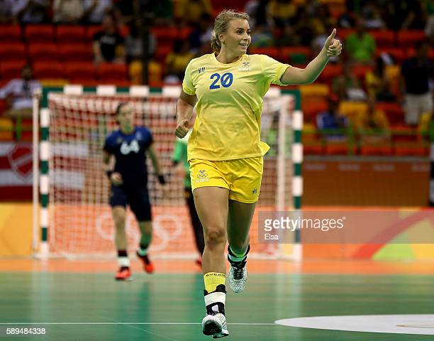 Isabelle Gullden of Sweden celebrates her goal in the first half against France on Day 9 of the Rio 2016 Olympic Games at the Future Arena on August...