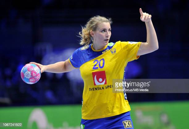 Isabelle Gullden of Sweden reacts during EHF Women's Euro 2018 match between Denmark and Sweden on November 30, 2018 in Nantes, France.