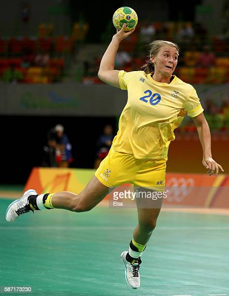 Isabelle Gullden of Sweden takes a shot in the second half against Korea on Day 3 of the Rio 2016 Olympic Games at the Future Arena on August 8, 2016...