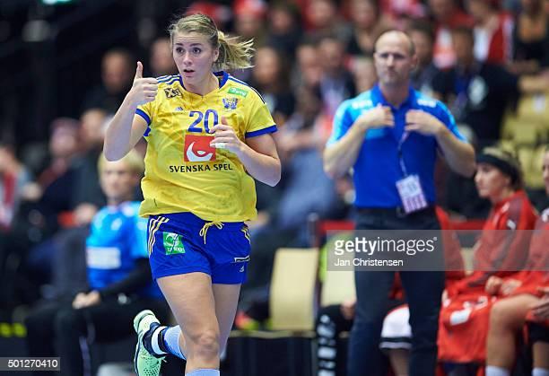 Isabelle Gulldén of Sweden celebrates after goal during the 22nd IHF Women's Handball World Championship Eight Final match between Denmark and Sweden...