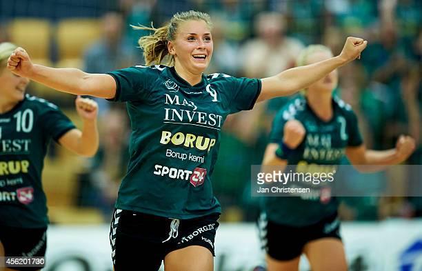 Isabelle Gulldén of Viborg HK celebrate after goal during the Danish Handball Liga match between Viborg HK and FC Midtjylland in Viborg Stadionhal on...