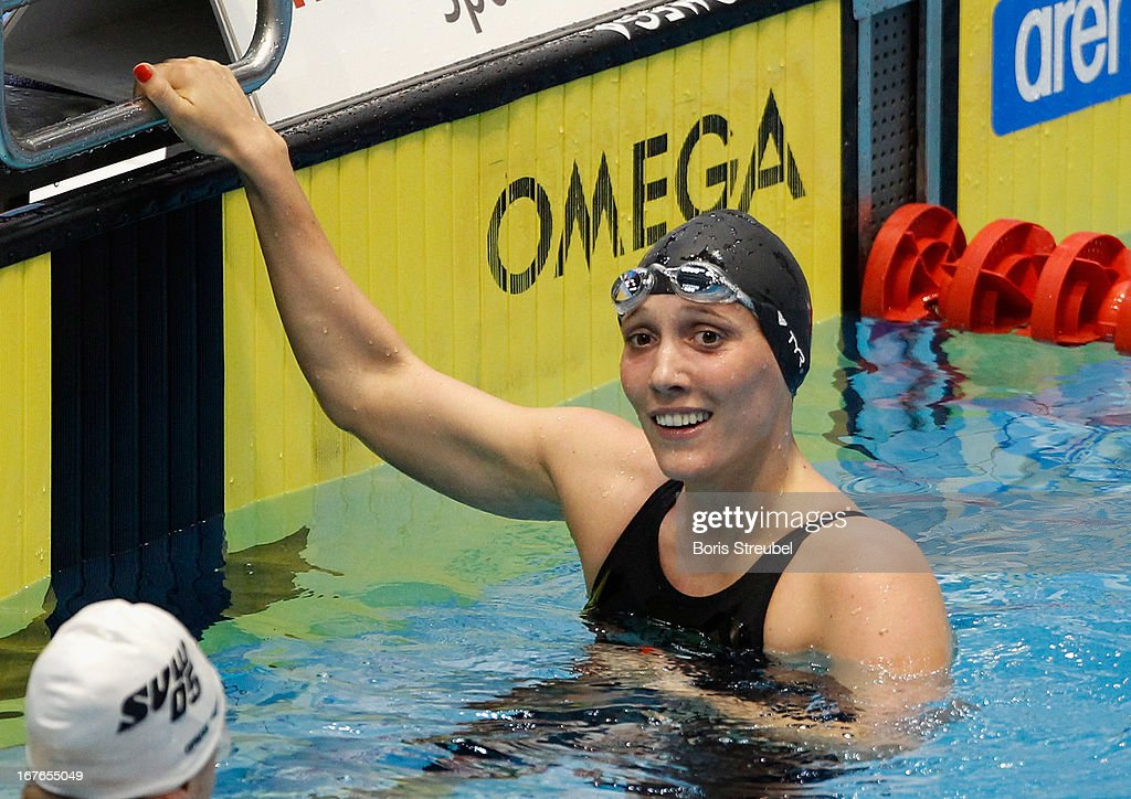 Isabelle Haerle of SG Essen reacts after winning the women's 800m freestyle A final during day two of the German Swimming Championship 2013 at the Eurosportpark on April 27, 2013 in Berlin, Germany.
