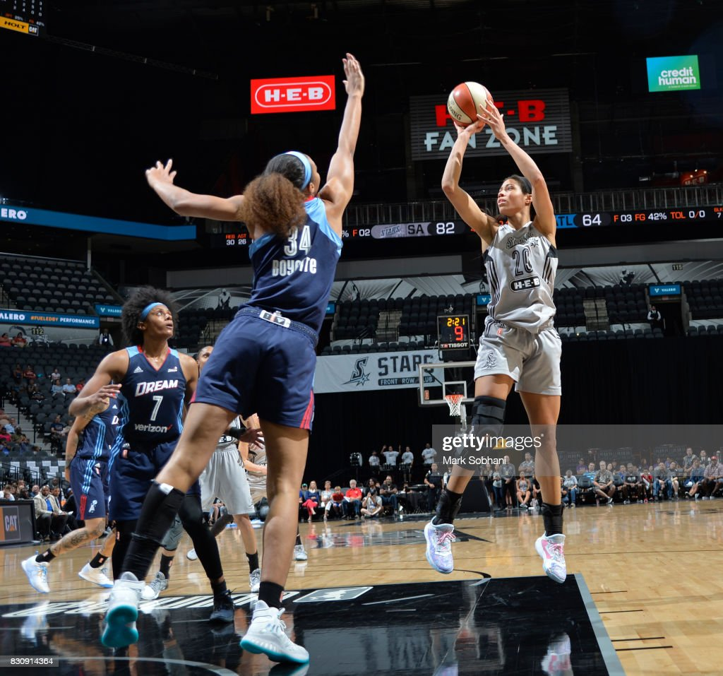 Isabelle Harrison #20 of the San Antonio Stars shoots the ball against the Atlanta Dream on August 12, 2017 at the AT&T Center in San Antonio, Texas.