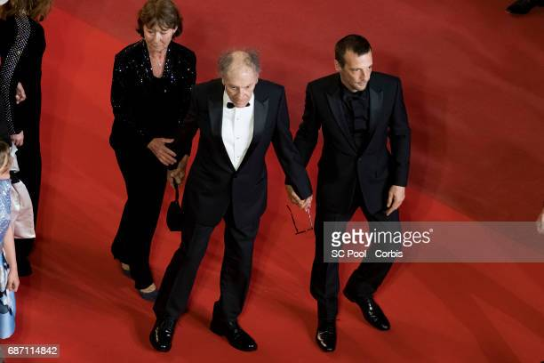 Isabelle Hupert JeanLouis Trintignant his wife Marianne Hoepfner and Mathieu Kassovitz attend the Happy End premiere during the 70th annual Cannes...