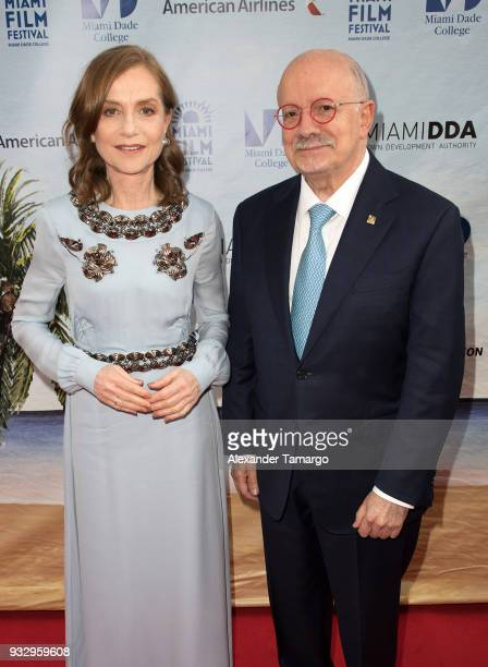 Isabelle Huppert and Dr Eduardo Padron are seen at the Miami Film Festival 2018 at the Olympia Theatre on March 16 2018 in Miami Florida