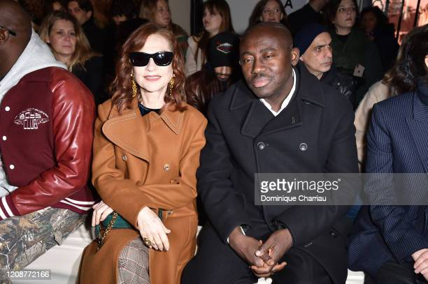 Isabelle Huppert and Edward Enninful attend the Lanvin show as part of the Paris Fashion Week Womenswear Fall/Winter 2020/2021 on February 26 2020 in...