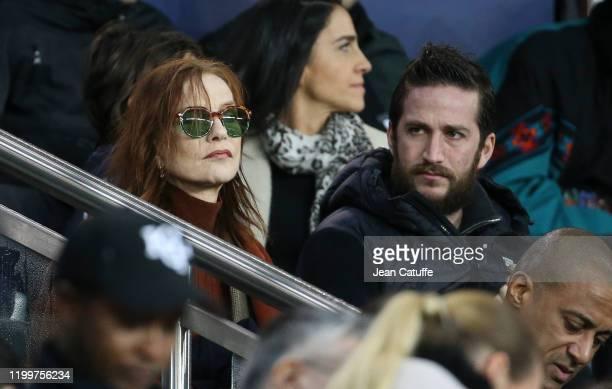 Isabelle Huppert and her son Lorenzo Chammah attend the Ligue 1 match between Paris SaintGermain and Olympique Lyonnais at Parc des Princes stadium...