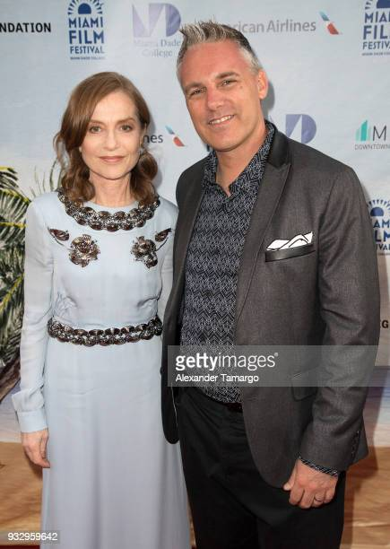 Isabelle Huppert and Jaie Laplante are seen at the Miami Film Festival 2018 at the Olympia Theatre on March 16 2018 in Miami Florida