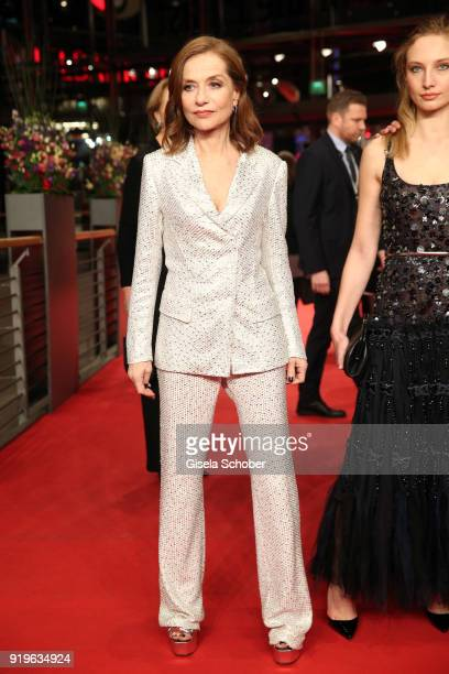 Isabelle Huppert and Julia Roy attend the 'Eva' premiere during the 68th Berlinale International Film Festival Berlin at Berlinale Palast on February...